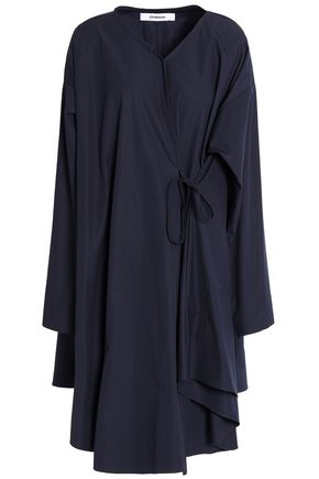 CHALAYAN Wrap-effect flared cotton-poplin dress