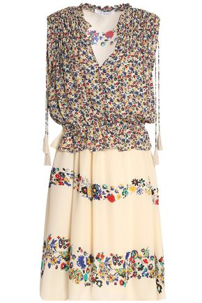 DEREK LAM 10 CROSBY Gathered floral-print silk-chiffon mini dress