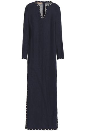 MICHAEL KORS COLLECTION Eyelet-embellished linen maxi dress