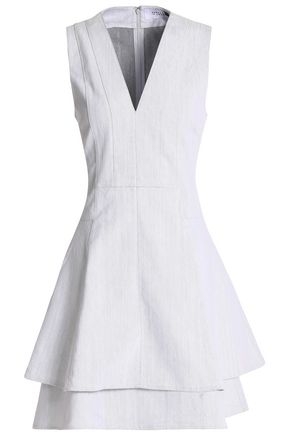 DEREK LAM 10 CROSBY Tiered fluted denim mini dress