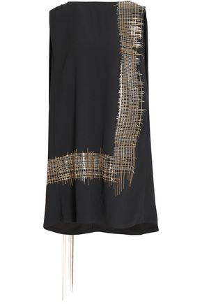 CHALAYAN Cape-back embellished satin-crepe dress