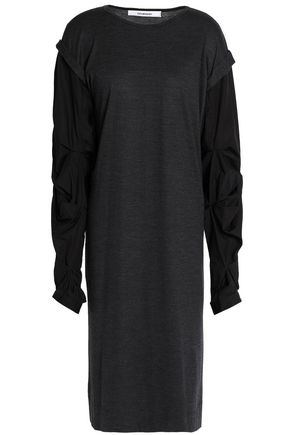 CHALAYAN Ruffle jersey-paneled poplin dress