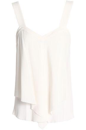 DEREK LAM 10 CROSBY Draped silk-blend crepe top