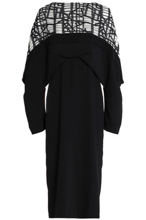 CHALAYAN Jacquard-paneled crepe dress