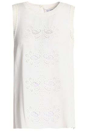 DEREK LAM 10 CROSBY Broderie anglaise silk-blend crepe de chine top