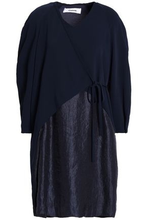 CHALAYAN Paneled hammered-satin and crepe wrap dress