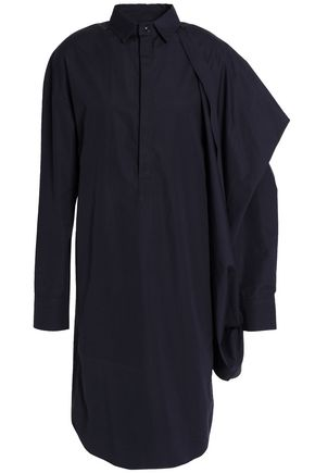 CHALAYAN Flared draped cotton-poplin shirt dress