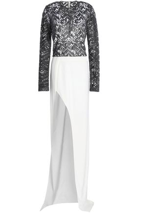 GALVAN  London Metallic embroidered tulle and satin-crepe gown