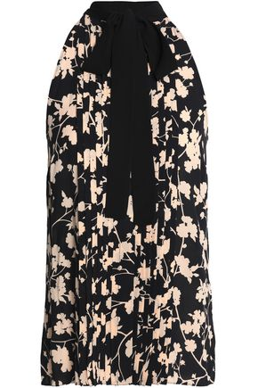 MICHAEL KORS COLLECTION Pussy-bow pintucked floral-print silk blouse