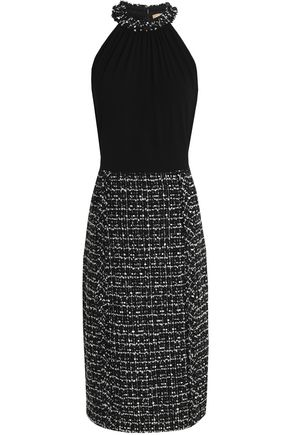 MICHAEL KORS COLLECTION Crepe-paneled bouclé-tweed dress