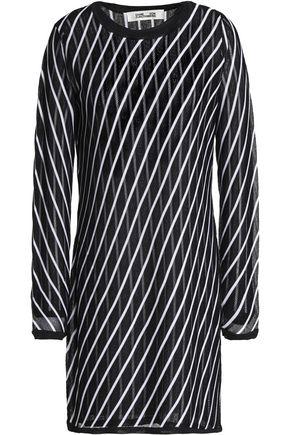 DIANE VON FURSTENBERG Striped pointelle-knit mini dress