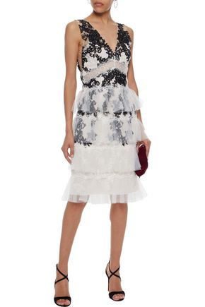 Tiered Lace Trimmed Embroidered Tulle Dress Marchesa Notte