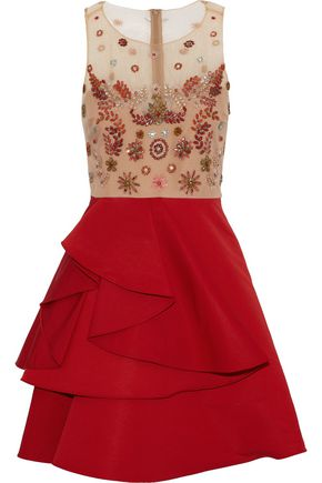 MARCHESA NOTTE Embellished tulle and ruffled silk-faille mini dress