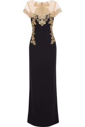 MARCHESA NOTTE Tulle-paneled embroidered crepe gown