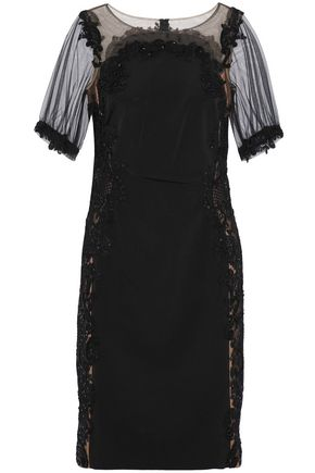 MARCHESA NOTTE Embellished tulle-paneled cady dress