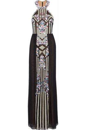 MARCHESA NOTTE Bead and sequin-embellished pleated tulle gown