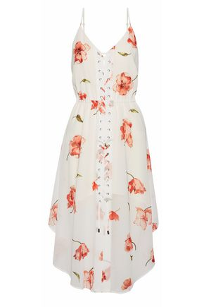 HAUTE HIPPIE Lace-up floral-print crepe de chine dress