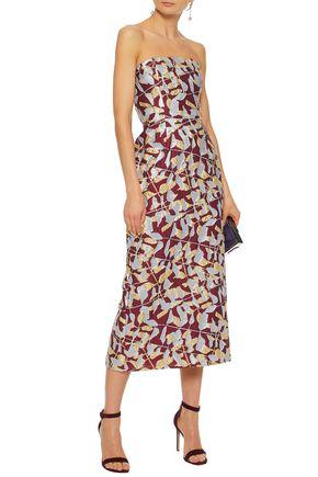 J.MENDEL Strapless metallic silk-blend cloqué gown