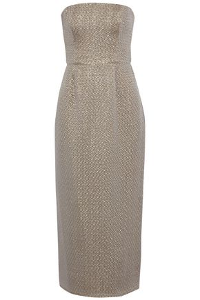 J.MENDEL Strapless metallic jacquard midi dress