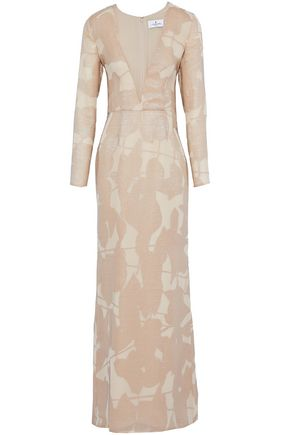 J.MENDEL Fluted metallic fil coupé silk-organza gown