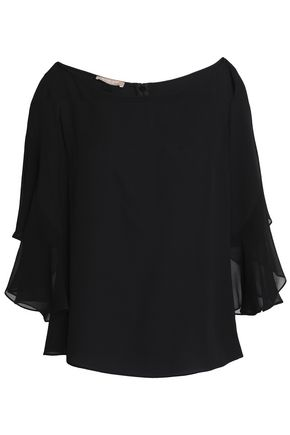 MICHAEL KORS COLLECTION Ruffle-trimmed silk crepe de chine top