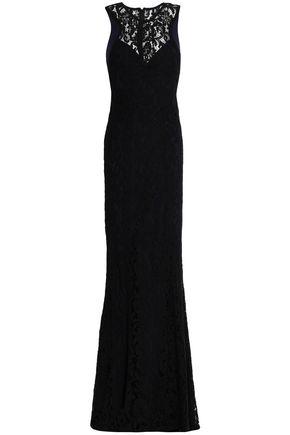 GALVAN  London Fluted cotton-blend guipure lace gown
