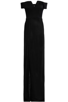 GALVAN  London Off-the-shoudler cutout satin-crepe gown