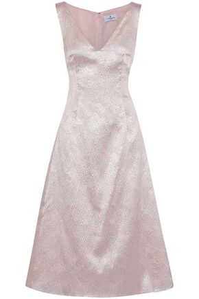 J.MENDEL Metallic silk-blend cloqué midi dress