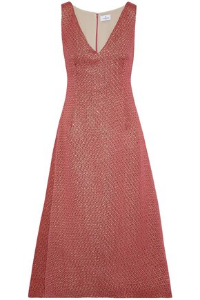 J.MENDEL Crinkled satin-jacquard midi dress