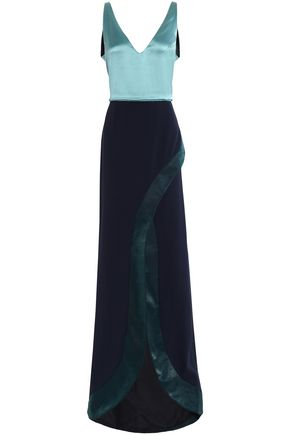 GALVAN  London Split-front satin and crepe gown