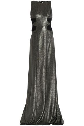 GALVAN  London Lace-up lamé gown