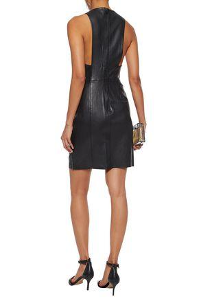 ALICE + OLIVIA Chain-trimmed leather mini dress