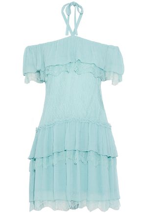 ALICE + OLIVIA Flora tiered georgette-paneled Chantilly lace halterneck mini dress