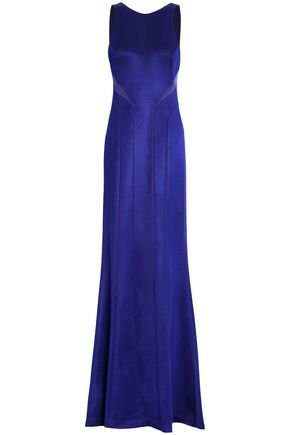 GALVAN  London Satin-trimmed stretch-knit gown