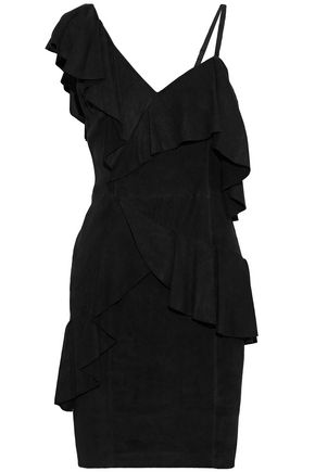 ALICE + OLIVIA Floretta asymmetric ruffled suede mini dress