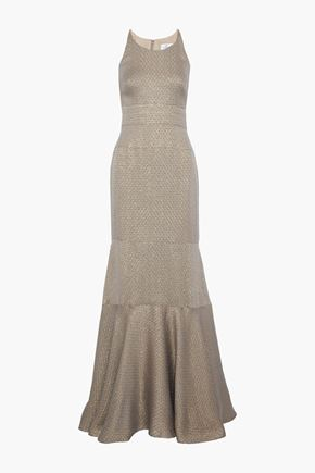 J.MENDEL Fluted metallic silk-blend cloqué gown