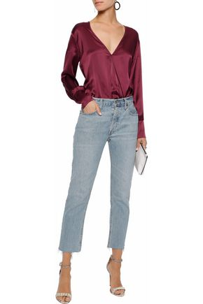CAMI NYC Allison wrap-effect silk-charmeuse bodysuit