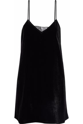 CAMI NYC The Backlace paneled velvet mini dress