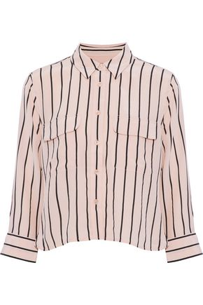 EQUIPMENT Signature cropped striped washed-silk shirt