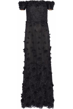 MARCHESA NOTTE Off-the-shoulder embellished lace and tulle gown