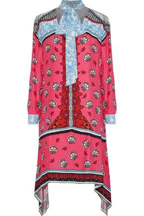 MARY KATRANTZOU Hearts pussy-bow printed silk crepe de chine dress