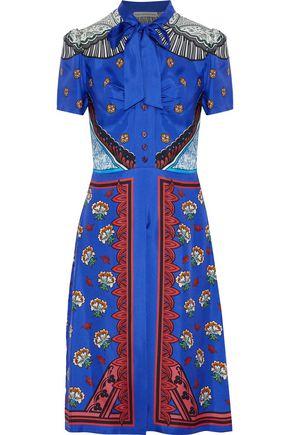 MARY KATRANTZOU Belote pussy-bow printed silk-twill shirt dress