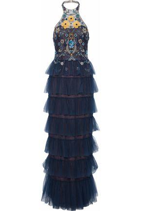 MARCHESA NOTTE Tiered embellished tulle halterneck gown