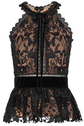MARCHESA NOTTE Velvet-trimmed guipure lace top
