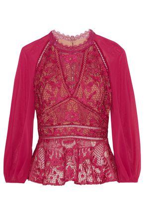MARCHESA NOTTE Chiffon-paneled guipure lace top