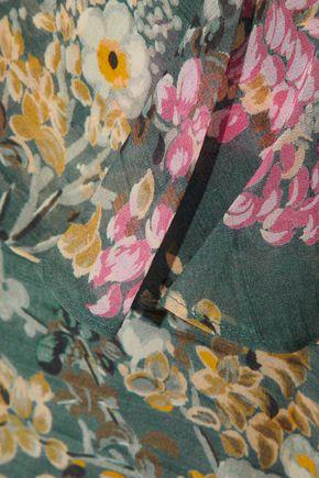 HAUTE HIPPIE Asymmetric ruffled floral-print silk-georgette mini dress