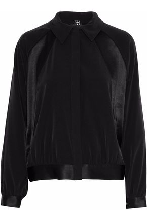 HAUTE HIPPIE Domino satin-paneled crepe bomber jacket