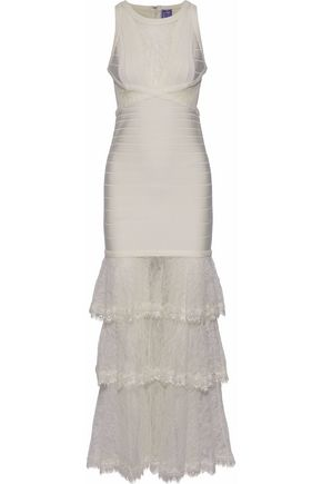 HERVÉ LÉGER Tiered Chantilly lace-paneled bandage gown