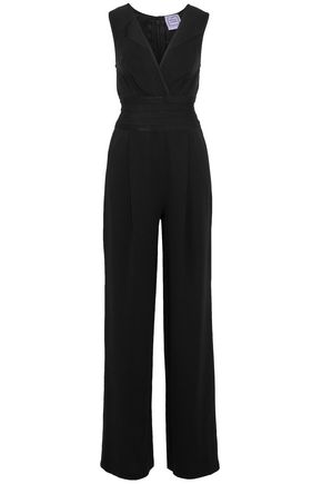 HERVÉ LÉGER Bandage-paneled pleated crepe de chine jumpsuit