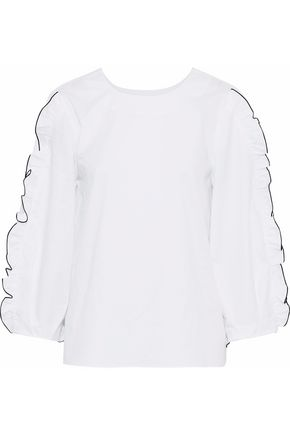 TIBI Spectator ruffle-trimmed cotton-poplin top